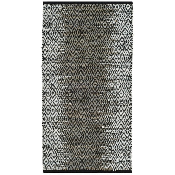 Safavieh Vintage Leather Hand-Woven Modern Geometric Light Grey/ Grey Area Rug - 2'3 x 4'