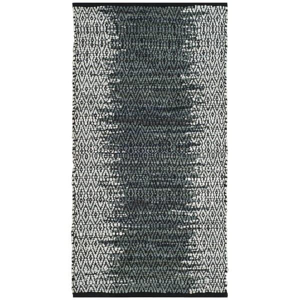 Safavieh Vintage Leather HandWoven Modern Geometric Light Grey/ Charcoal Area Rug (2' x 3')