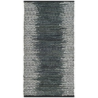 Safavieh Vintage Leather HandWoven Modern Geometric Light Grey/ Charcoal Area Rug (2'3 x 4')