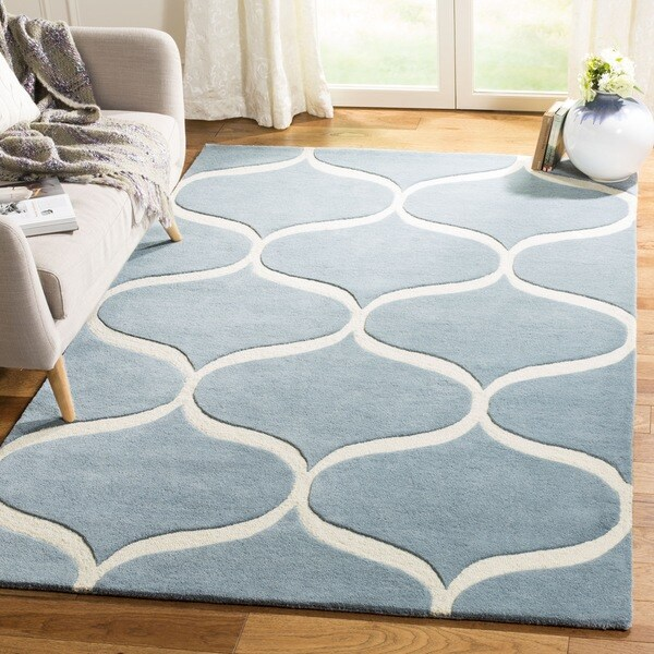 Safavieh Cambridge HandWoven Wool Transitional Geometric Light Blue/ Ivory Area Rug - 2' X 3'