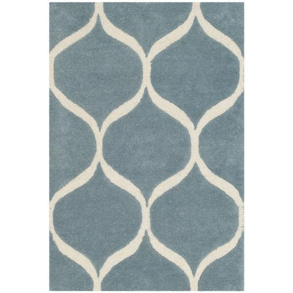 Safavieh Cambridge HandWoven Wool Transitional Geometric Light Blue/ Ivory Area Rug (2' x 3')