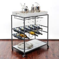 Oliver & James Riza Grey Wine Serving Cart