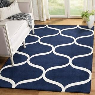 Safavieh Cambridge HandWoven Wool Transitional Geometric Dark Blue/ Ivory Area Rug (2' x 3')