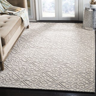 Safavieh Cambridge HandWoven Wool Transitional Geometric Ivory/ Grey Area Rug - 2' X 3'