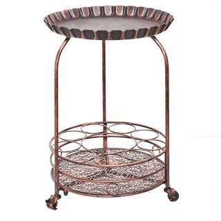 Old Dutch Pop! Brown Metal Wine Serving Cart