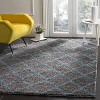 Safavieh Arizona Shag Contemporary Southwestern Grey/ Turquoise Area Rug - 6'7 Square
