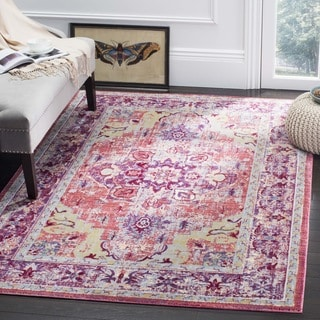 Safavieh Claremont Transitional Oriental Purple/ Coral Area Rug (6'7 Square)