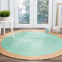 Safavieh Natural Fiber Hand-Woven Jute Coastal Geometric Aqua/ Natural Area Rug - 5' x 5' round