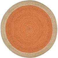 Safavieh Natural Fiber HandWoven Jute Coastal Geometric Orange/ Natural Area Rug - 3' Round