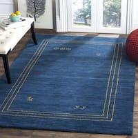 Safavieh Himalaya HandWoven Wool Contemporary Border Blue/ Multi Area Rug - 6' Square