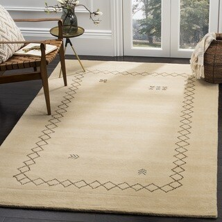 Safavieh Himalaya Hand-Woven Wool Contemporary Border Beige/ Multi Area Rug (6' Square)