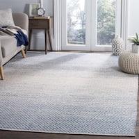 Safavieh Montauk HandWoven Cotton Contemporary Geometric Blue/ Ivory Area Rug - 6' Square