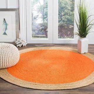 Safavieh Natural Fiber HandWoven Jute Coastal Geometric Orange/ Natural Area Rug (5' Round)