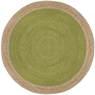 Safavieh Natural Fiber HandWoven Jute Coastal Geometric Green/ Natural Area Rug (3' Round)