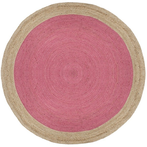 Safavieh Natural Fiber HandWoven Jute Coastal Geometric Pink/ Natural Area Rug (3' Round)