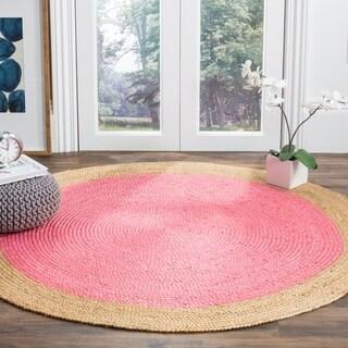 Safavieh Natural Fiber HandWoven Jute Coastal Geometric Pink/ Natural Area Rug (6' Round)