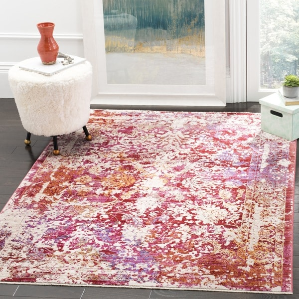 Safavieh Sutton Watercolor Fuchsia Pink/ Ivory Rug - 6' Square
