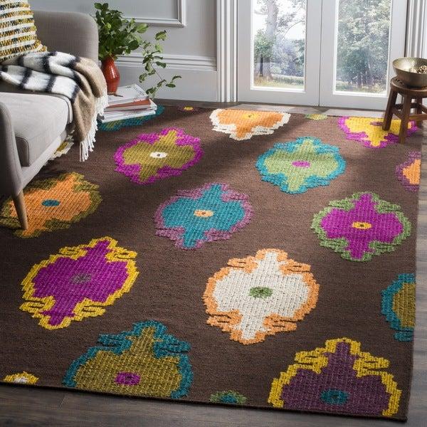Safavieh Suzani HandWoven Wool Transitional Geometric Brown/ Multi Area Rug - 7' Square