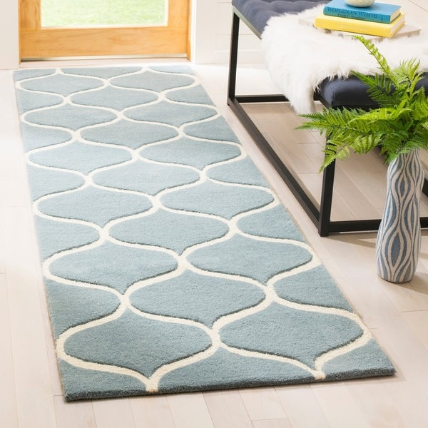 Safavieh Cambridge HandWoven Wool Transitional Geometric Light Blue/ Ivory Runner Rug - 2'6 x 8'