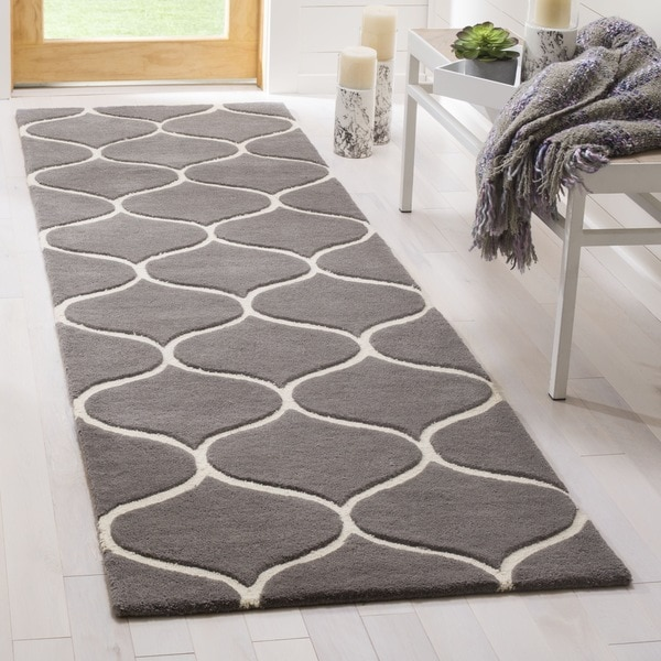 Safavieh Cambridge HandWoven Wool Transitional Geometric Dark Grey/ Ivory Runner Rug - 2'6 x 8'
