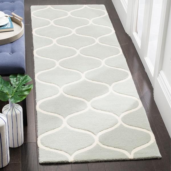 Safavieh Cambridge HandWoven Wool Transitional Geometric Grey/ Ivory Runner Rug - 2'6 x 8'