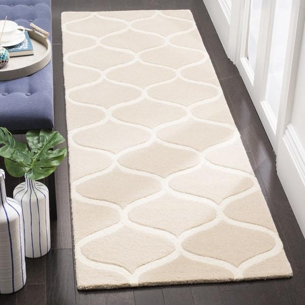 Safavieh Cambridge HandWoven Wool Transitional Geometric Light Beige/ Ivory Runner Rug - 2'6 x 8'