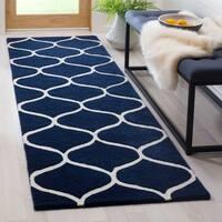 Safavieh Cambridge HandWoven Wool Transitional Geometric Dark Blue/ Ivory Runner Rug (2'6 x 8')