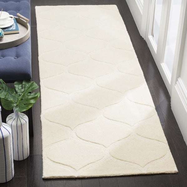 Safavieh Cambridge HandWoven Wool Transitional Geometric Ivory/ Ivory Runner Rug (2'6 x 8')
