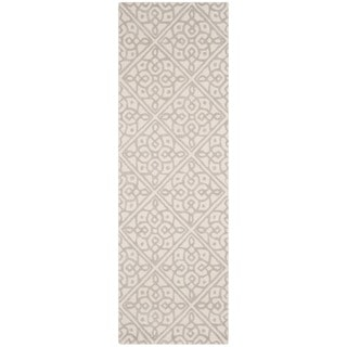 Safavieh Cambridge HandWoven Wool Transitional Geometric Ivory/ Grey Runner Rug (2'6 x 8')