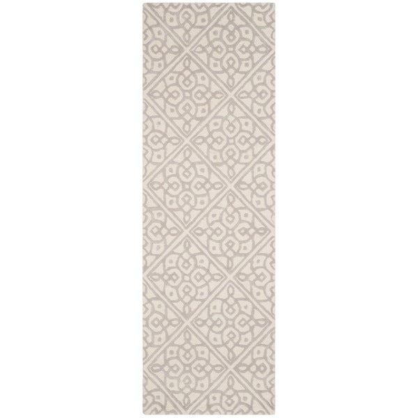 Safavieh Cambridge HandWoven Wool Transitional Geometric Ivory/ Grey Runner Rug - 2'6 x 8'