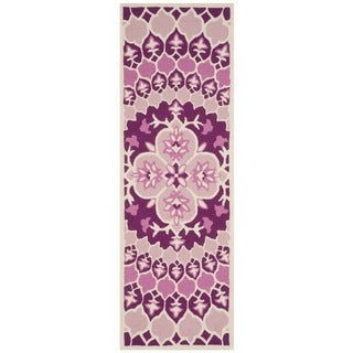 Safavieh Bellagio HandWoven Wool Contemporary Geometric Pink/ Ivory Runner Rug (2'3 x 7')