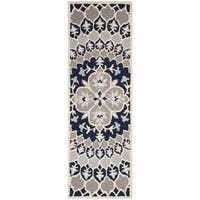 "Safavieh Bellagio Handmade Contemporary Navy Blue/ Ivory Wool Runner Rug - 2'3"" x 7'"