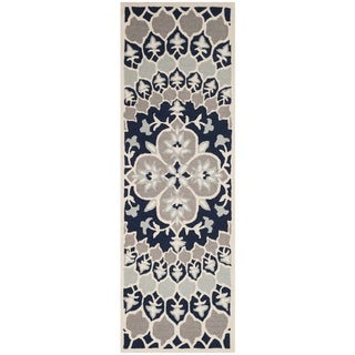 Safavieh Bellagio HandWoven Wool Contemporary Geometric Navy Blue/ Ivory Runner Rug - 2'3 x 7'