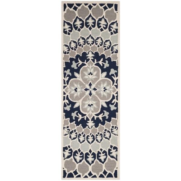 Safavieh Bellagio Handwoven Wool Contemporary Geometric Navy Blue Ivory Runner Rug 2 X27