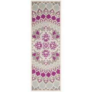 Safavieh Bellagio HandWoven Wool Contemporary Geometric Grey/ Ivory Runner Rug (2'3 x 7')