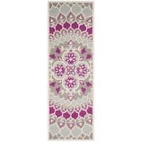 Safavieh Bellagio HandWoven Wool Contemporary Geometric Grey/ Ivory Runner Rug - 2'3 x 7'