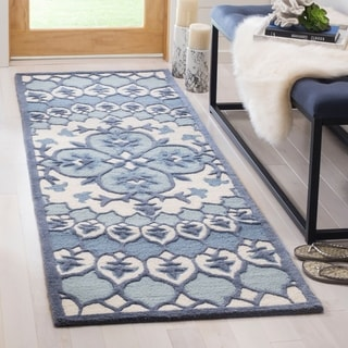 Safavieh Bellagio Hand-Woven Wool Contemporary Geometric Ivory/ Blue Runner Rug (2'3 x 7')