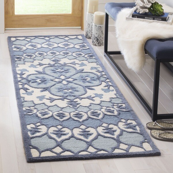 Safavieh Bellagio Hand Woven Wool Contemporary Geometric Ivory Blue Runner Rug 2
