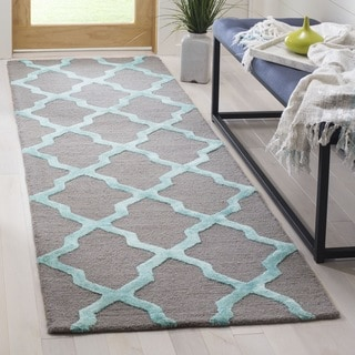 Safavieh Cambridge HandWoven Wool Contemporary Geometric Grey/ Turquoise Runner Rug (2'6 x 8')