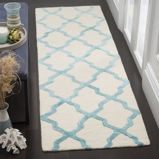 Safavieh Cambridge HandWoven Wool Contemporary Geometric Ivory/ Turquoise Runner Rug (2'6 x 8')
