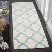 Safavieh Cambridge HandWoven Wool Contemporary Geometric Ivory/ Turquoise Runner Rug - 2'6 x 8'