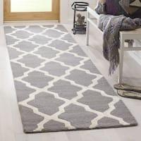 "Safavieh Cambridge HandWoven Wool Contemporary Geometric Grey/ Ivory Runner Rug - 2'6"" x 8'"