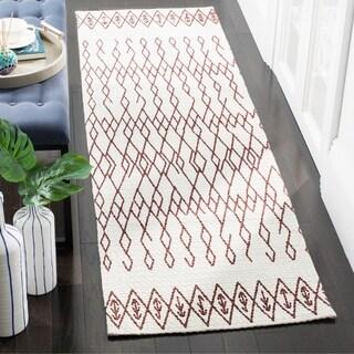Safavieh Cedar Brook HandWoven Cotton Contemporary Geometric Ivory/ Rust Runner Rug (2'3 x 6')