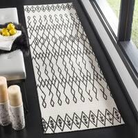 Safavieh Cedar Brook HandWoven Cotton Contemporary Geometric Ivory/ Black Runner Rug - 2'3 x 8'