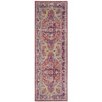 "Safavieh Claremont Transitional Oriental Purple/ Coral Runner Rug - 2'6"" x 7'9"""