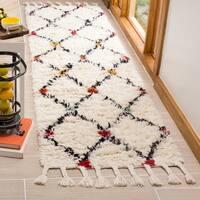 Safavieh Casablanca HandWoven Wool Contemporary Geometric Ivory/ Multi Runner Rug - 2'3 x 8'