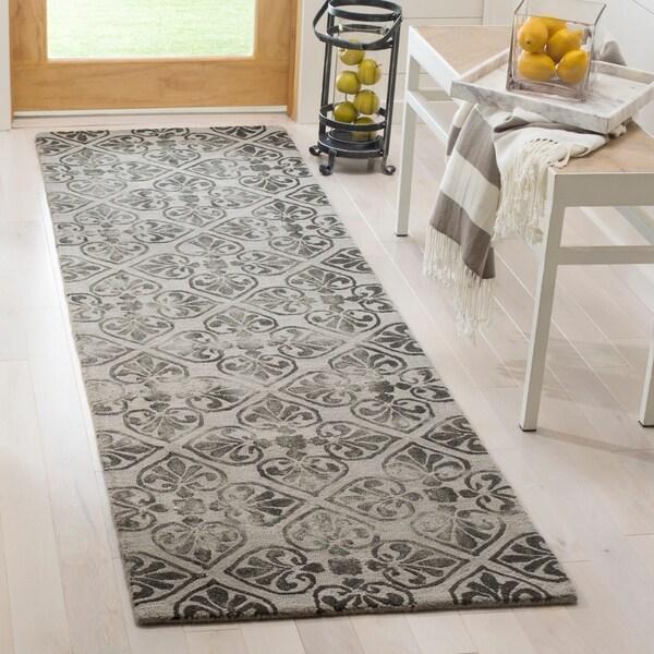 Safavieh Dip Dye HandWoven Wool Modern Geometric Grey Runner Rug - 2'3 x 8'