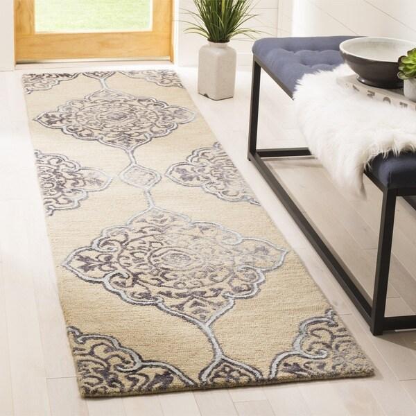 Safavieh Dip Dye HandWoven Wool Modern Geometric Beige/ Blue Runner Rug (2'3 x 8')