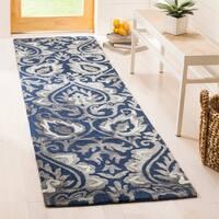 Safavieh Dip Dye Hand-Woven Wool Modern Geometric Navy/ Grey Runner Rug - 2'3 x 8'
