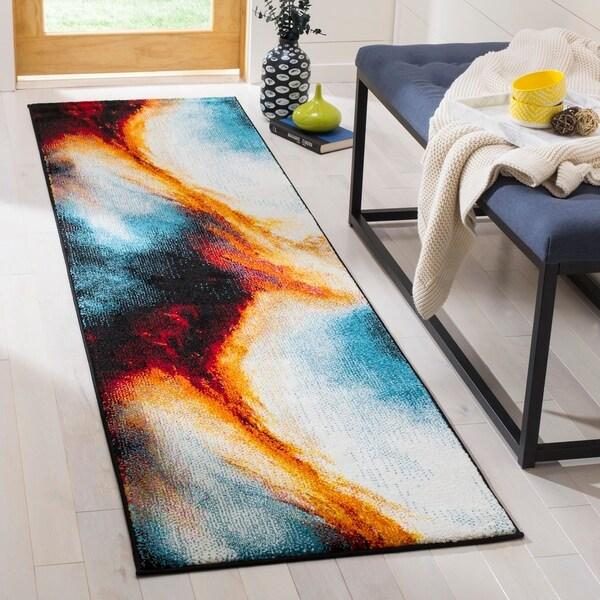 Safavieh Galaxy Contemporary Abstract Orange/ Multi Runner Rug - 2'2 x 8'
